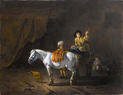 Karel Dujardin A Horseman Holding a Roemer of Wine with an Ostler Tending the Horses