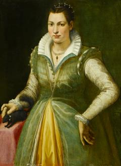 Bartolommeo Traballesi Portrait of a Lady, possibly the Poet Maddalena Salvetti (1557-1610), in a Green Dress and Pearls, Standing at a Draped Table, with a Pet Squirrel