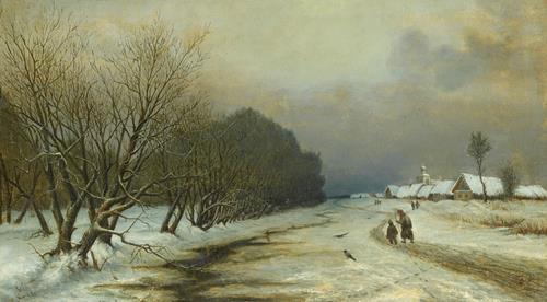 N. Gradovsky A Winter Landscape with Figures Heading Towards a Village