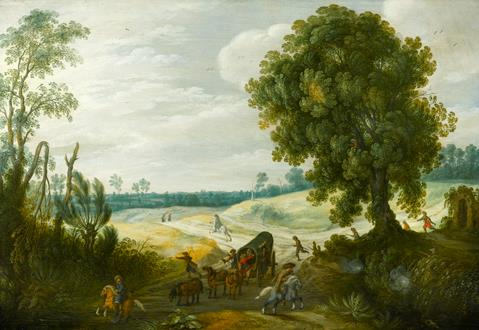 Sebastian Vrancx A Landscape with a Convoy on a Wooded Track under Attack