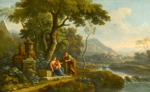 Jan Frans van Bloemen, called  Orizzonte The Flight into Egypt and The Rest on the Flight to Egypt