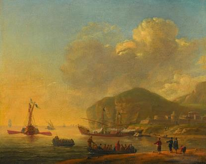 Reinier Nooms, called  Zeeman Shipping before a Mediterranean Coast with a Fortified Town near a Cliff