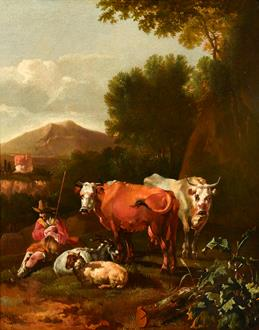 Abraham Jansz. Begeyn An Italianate Landscape with a Herdsman and his Cattle Resting near a Tree