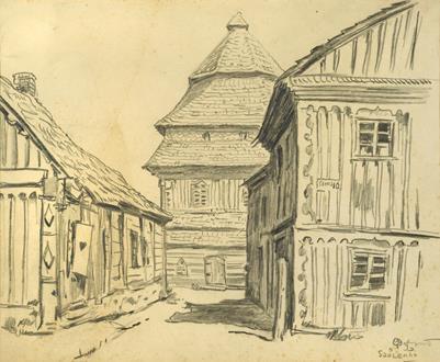 Mstislav Valerianovich Dobuzhinsky  A View of Šaukėnai, Lithuania