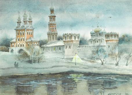 School Russian Novodevichy Convent in Spring