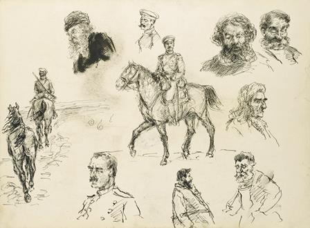 Ivan Alekseevich Vladimirov  A Russian Cavalry Officer (recto) and Other Sketches of Various Characters (verso)