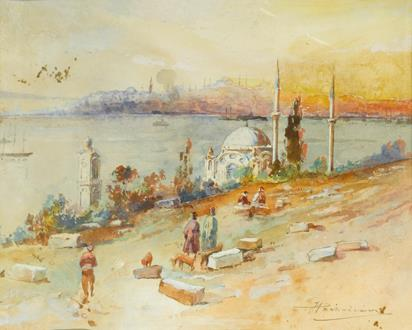 J Pavlikevitch Sunset on the Golden Horn, Istanbul
