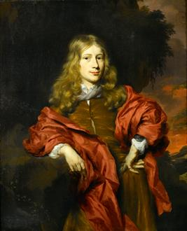 Nicolaes Maes Portrait of a Gentleman, Three-Quarter Length, in a Brown Tunic with a Red Cloak  in a Wooded Landscape, at Sunset