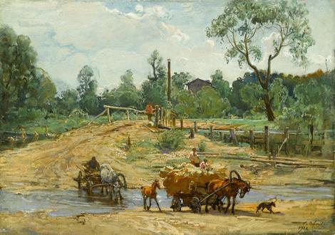 Georgy Konstantinovich Savitsky Carts Fording a River, Prilepa, Tula Oblast