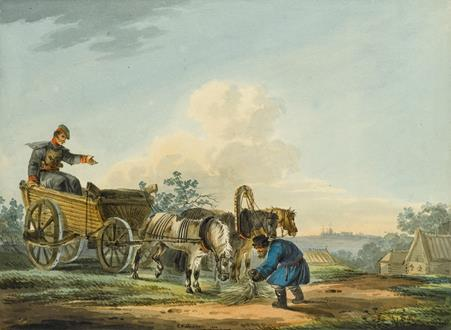 Karl Ivanovich Kollmann Two Roadside Scenes with Cart and Horse