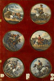 Alexander Osipovich Orlovsky Six Roundels Depicting Horsemen