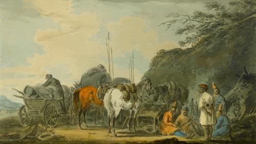 Alexander Osipovich Orlovsky Cossacks Resting their Horses