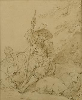 Jean-Baptiste Le Prince A Shepherd Resting, Two Figures Behind